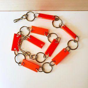 3/30$ 🍂 Gold Tone Neon Orange Plastic Link Waist Hips Belt Retro 60s 70s